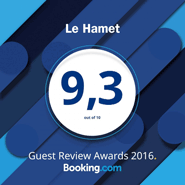 Excellence 9,3 sur booking.com 2016